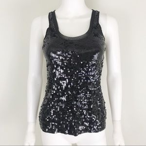 Express XS Black Sequin Tank EUC